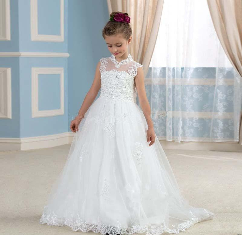 White Tulle Lace Beaded sequins Flower Girl Dress,High Neck First Communion Dress,weddings Bridesmaid FlowerGirl Dress TF42