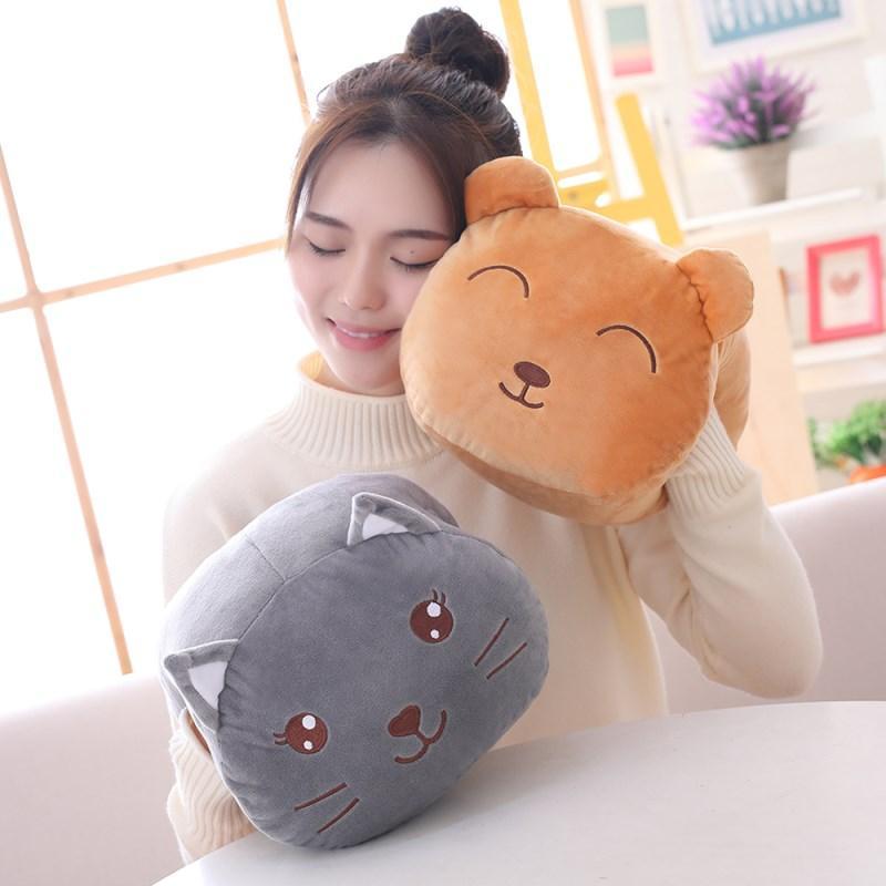 Animals Hand-Warmer Pillow Cartoon Animal Head with Holes Hands Warm Winter Gift Pig Bunny Mouse Cat Sea Lion Bear Girls 30cm