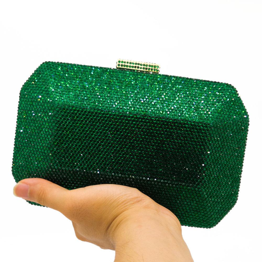 Boutique De Fgg Sparkling Green Emerald Crystal Women Evening Bag Fashion Wedding Bridal Diamond Clutch Minaudiere Handbag Purse Y19062003
