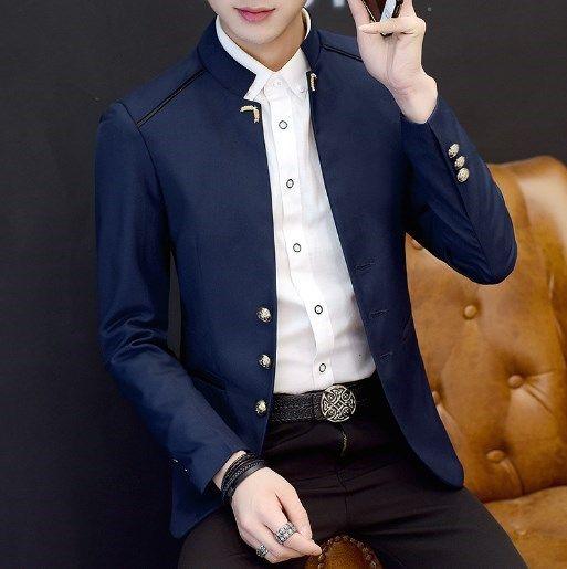 chino mandarín chaqueta informal collar de estilo para los hombres collar del soporte de la chaqueta hombre chaqueta de traje de túnica de un solo pecho china de Zhongshan