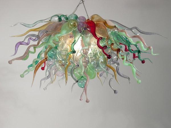 100 % 입 풍선 CE UL 붕규산 무라노 유리 데일 치 훌리 (Dale Chihuly) 예술 새 스타일 할인 현대 샹들리에