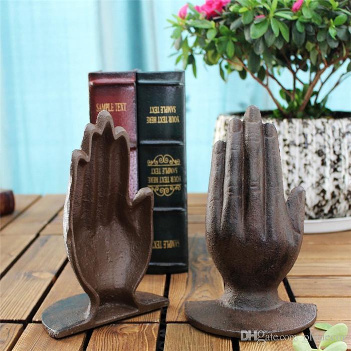 2 Piezas de hierro fundido a mano sujetalibros sujetalibros de metal antiguo del escritorio decoración de la tabla de Estudio del Ministerio del Interior Craft Brown rústico de la vendimia escultural retro