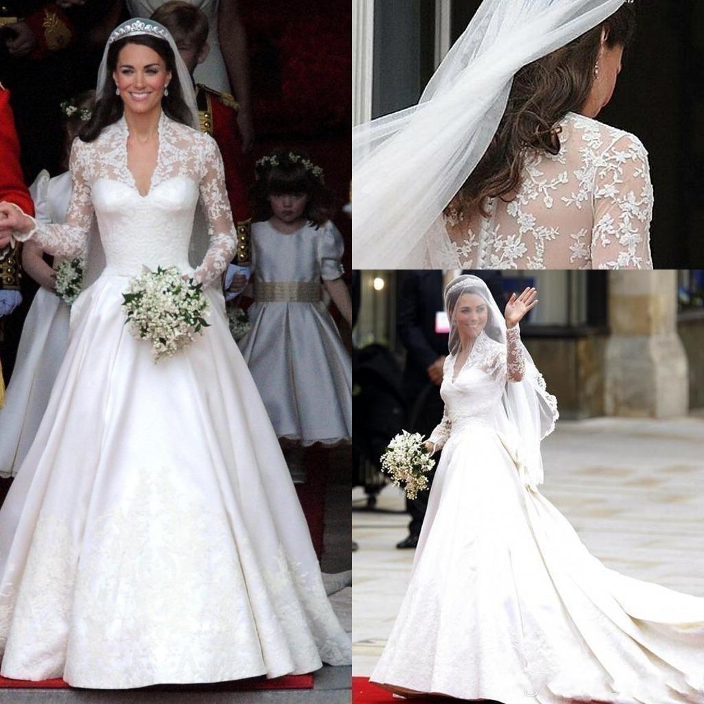 2020 Classic White Satin una línea vestidos de novia cuello en V manga larga Sheer apliques de encaje Kate Middleton botones Atrás Real de Vestidos de Novia AL5308