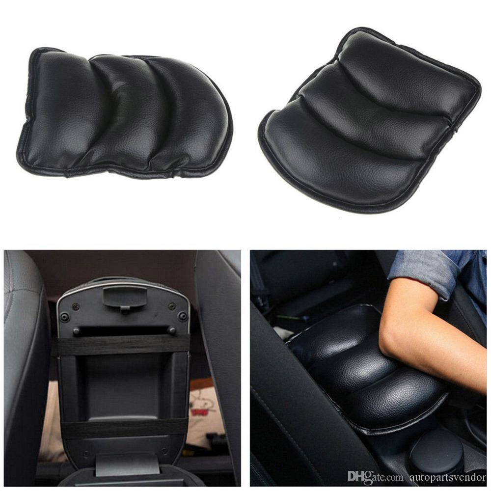 Black AUTO ACCESSORIES CAR Center Armrest Console Box Leather Soft Cushion Pad Cover Pad Center Console Support