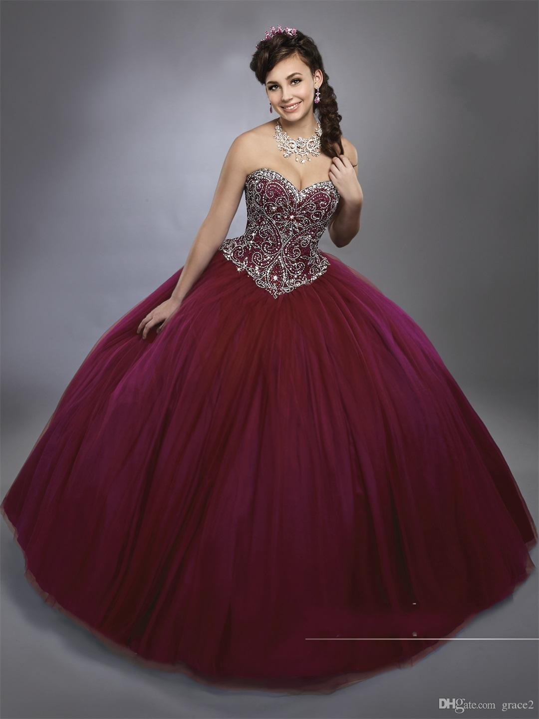 Dark Burgundy Ball Gown Quinceanera Dresses Mary's with Sheer Bolero Corset Back Bling Bling Crystaled Sweet 15 Dress Sweetheart