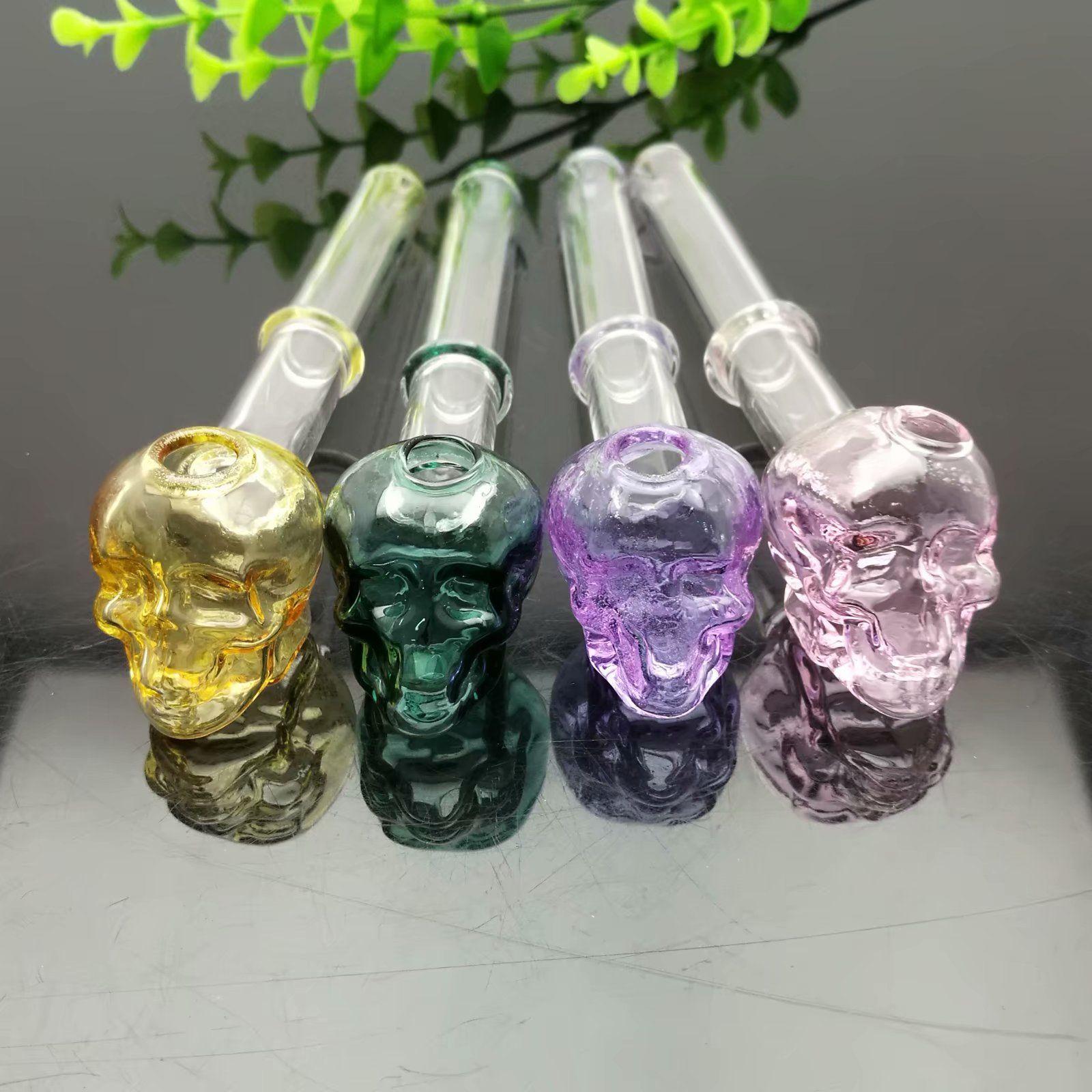 Color de una sola rueda cráneo conjunto de humo de vidrio Gran tubo de quemador de aceite de Pyrex Tubo de agua de vidrio de plataformas petroleras gruesas