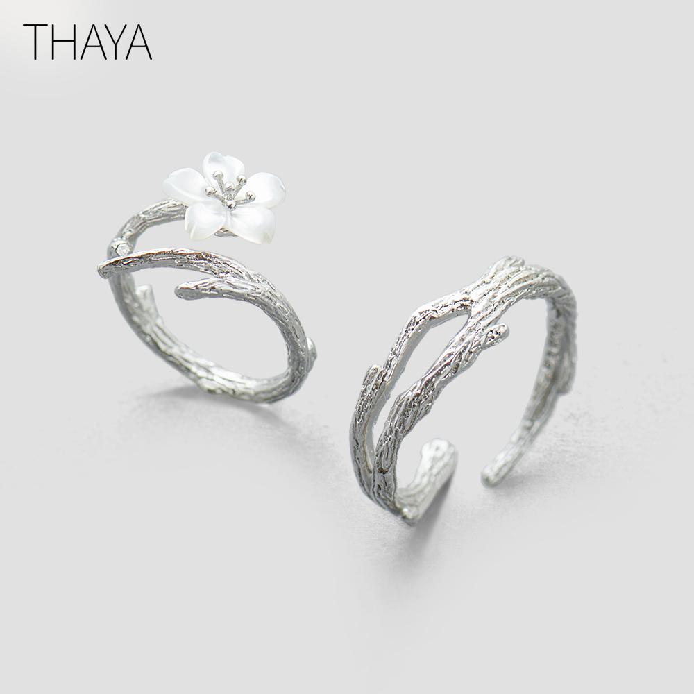 Thaya White Cherry Blossom Silver Ring S925 Silver Natural Pearl Shell Flower Branch Rings For Women Elegant Ladies Jewelry Y19051603