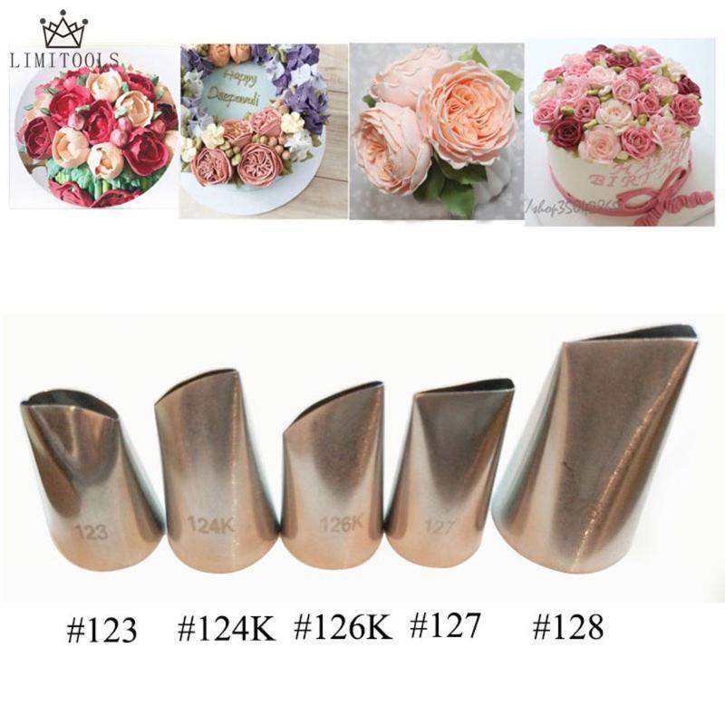 Baking & Pastry Tools 5 Pcs Rose Petal Metal Cream Tips Cake Decorating Steel Icing Piping Nozzles Set Cupcake Tool