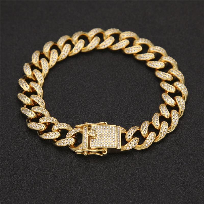 Bracelets Hip Hop 13mm 7 / 8inch Gold Argent Couleurs Cubic Zirconia Cz Cubain Chaîne de liaison pour Bijoux pour hommes
