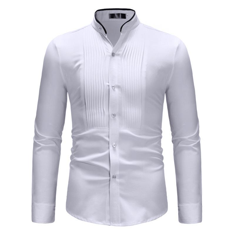 Mens Branco mandarim colarinho vestido camisas Wedding Tuxedo shirt 2020 Marca Slim Fit camisa de manga longa Homens de negócios Chemise Casual