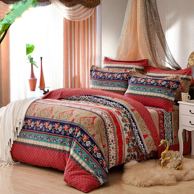 100% Cotton Bohemia Stripe Bedding Set for Autumn and Winter Twin Queen King Size Bed Linen Bedclothes Duvet Cover Sets