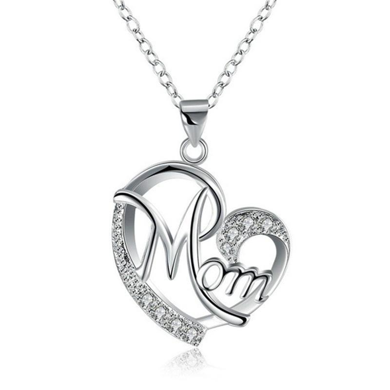 Mom-hängender Halsketten-Kristalldiamant-Herz-geformte Charme-Art- und Love Mom Schmuck Mutter-Geburtstags-Day Schmuck Geschenk Silber Rose Gold Farbe