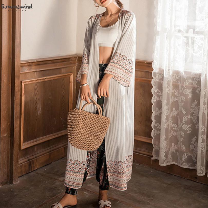 2019 Блузы Cardigans Мода шифон Лето Tribal Printed Кимоно Длинные дамы с длинным рукавом Feminina Женская одежда Ca8091