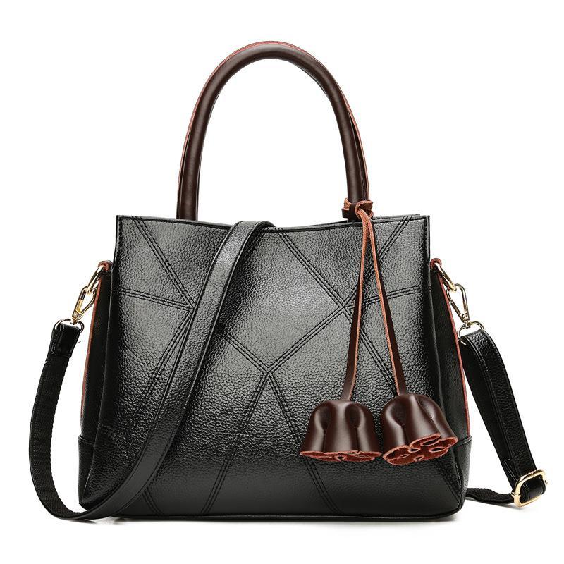 Women Leather Handbag Famous Brand Fashion Designer Black Tassel Totes Bag Women's Shoulder Messenger Bags SAJOSE