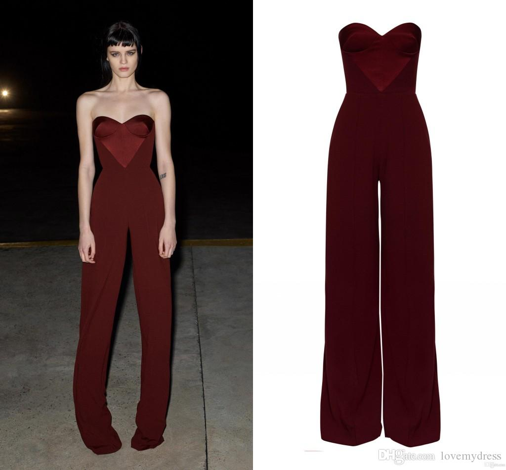 Burgundy Chiffon Evening Gowns Jumpsuit 2020 Strapless Unique Neck Open Back Pant Suits Cocktail Party Dress Prom Gowns Bridesmaid Formal Long Red Evening Dress Mermaid Evening Dresses From Lovemydress 65 50 Dhgate Com