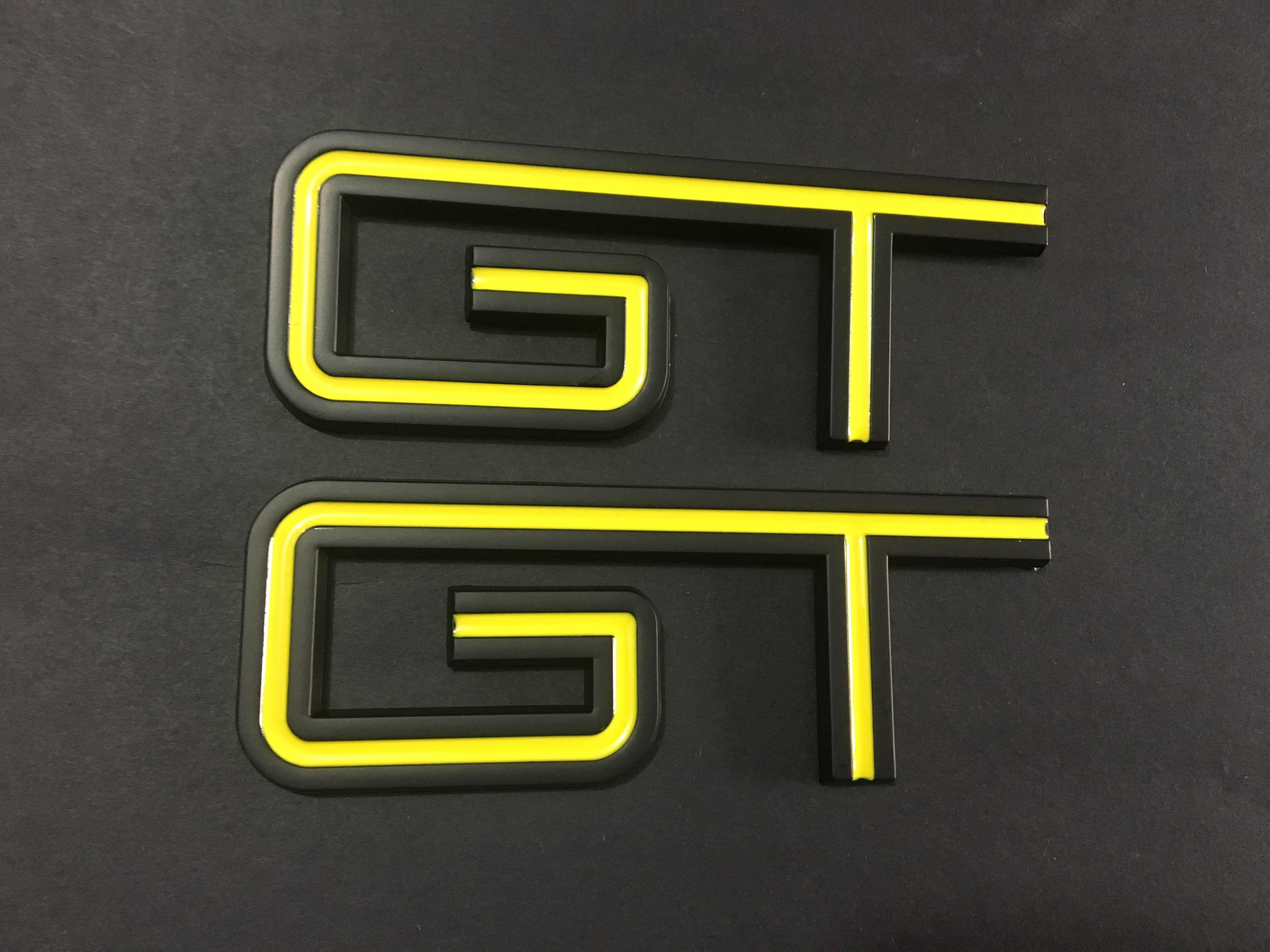 فورد موستانج جي تي شعار سيارة ملصقا أحمر أصفر أسود أزرق جانبي درابزين جذع شارة استبدال شارة