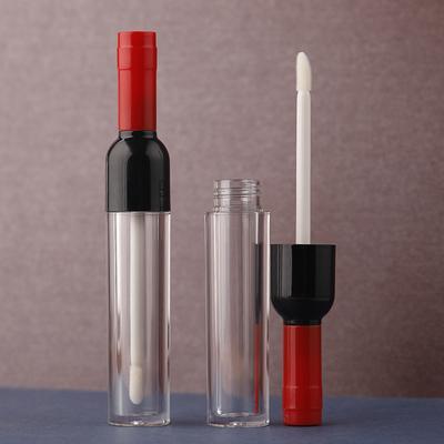 5ML 10/30 / 50PCS البلاستيك واضح ملمع الشفاه زجاجة مع ملون كاب، الخالي النبيذ الشكل الإبداعي المحمولة ملمع الشفاه أنبوب، أنبوب أحمر الشفاه