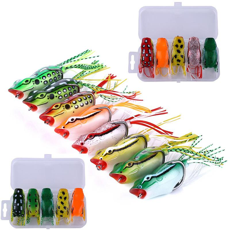 Hot Rubber Ray frog Popper bait 12g 5.5cm Topwater Fishing Big Mouth Hollow Body Soft Baits Blackfish Artificial Lure