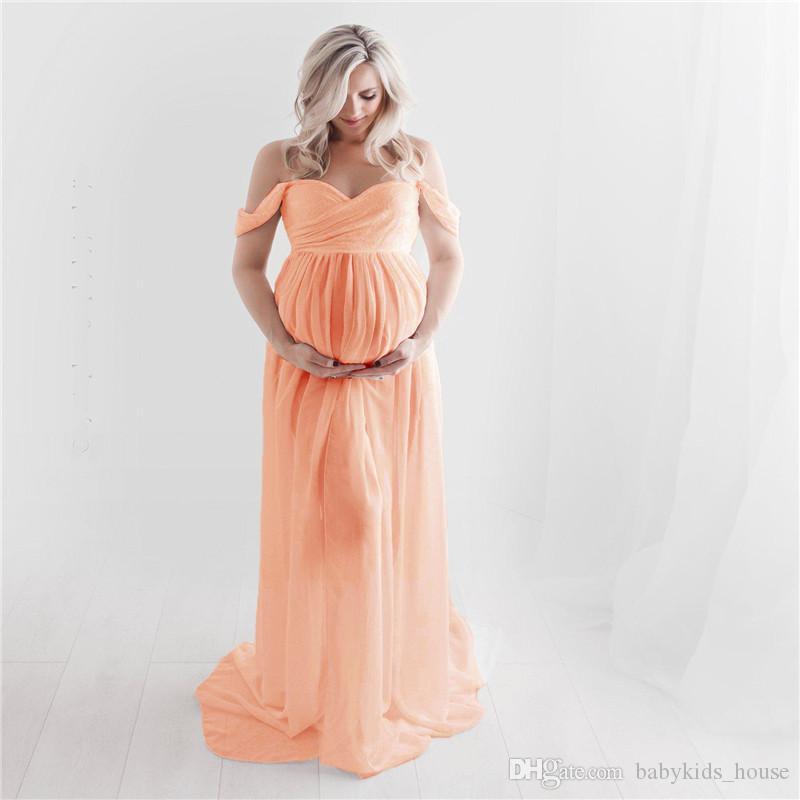 Vestidos de maternidad Dulce corazón Abertura gasa abierta Accesorios de fotografía de maternidad Vestidos Vestido largo de embarazo Vestido largo