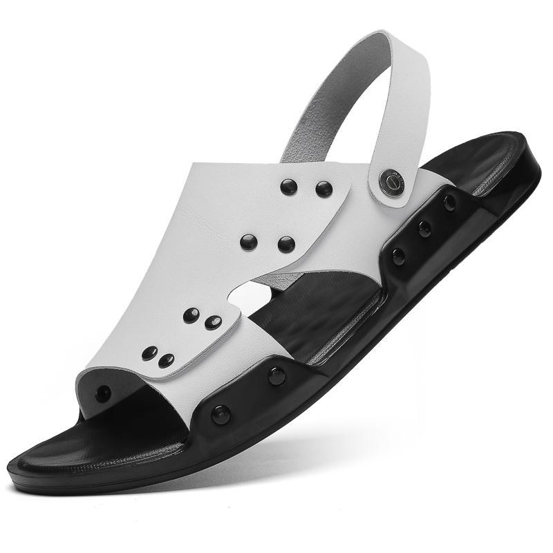 Yeni Büyük Beden Erkek Sandalet Yaz Moda Man Gerçek Deri Plaj ayakkabı erkekler Kaymaz Büyük Terlik Flats