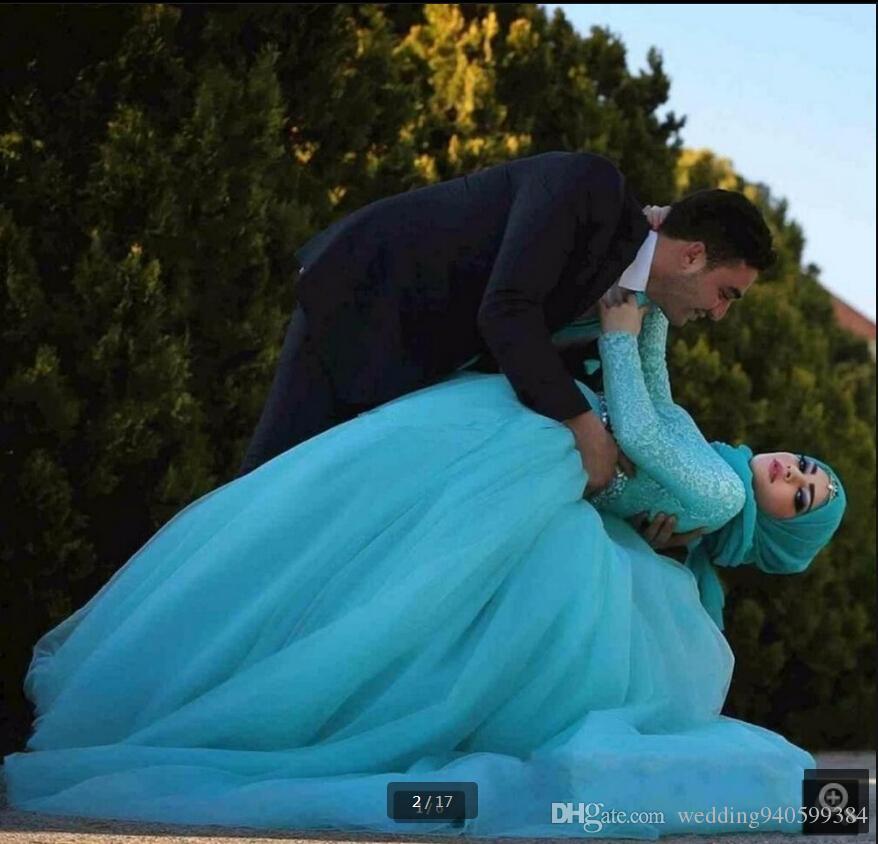 2019 yeni tasarım balo elbisesi mavi dantel müslüman balo elbise yüksek boyun mütevazı resmi prenses balo abiye ucuz gelinlik modelleri en çok satan