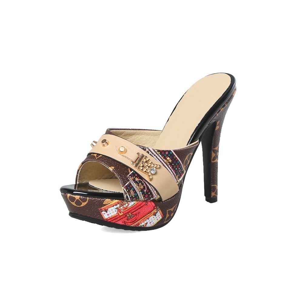 2019Maguidern Brand Women Slipper Sandals Heels Wedges Peep toe Elegant Female Sandals Ladies Mules Summer Shoes size 33-43
