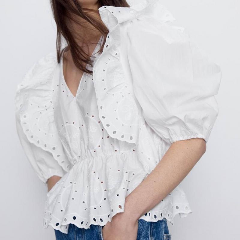 Women Blouse Ruffle Shirt Summer 2020 New Fashion Preppy Girl Embroidery White Pullover Tops