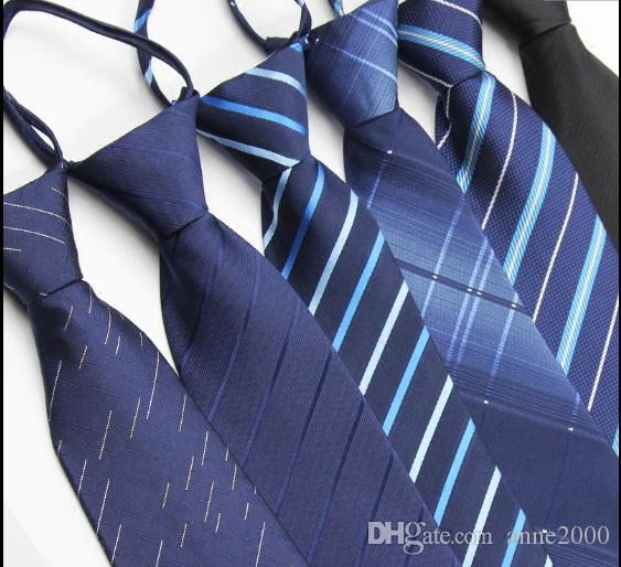 Tie man zipper no need to hit business suit 8cm professional dark blue black one easy to pull the groom wedding lazy
