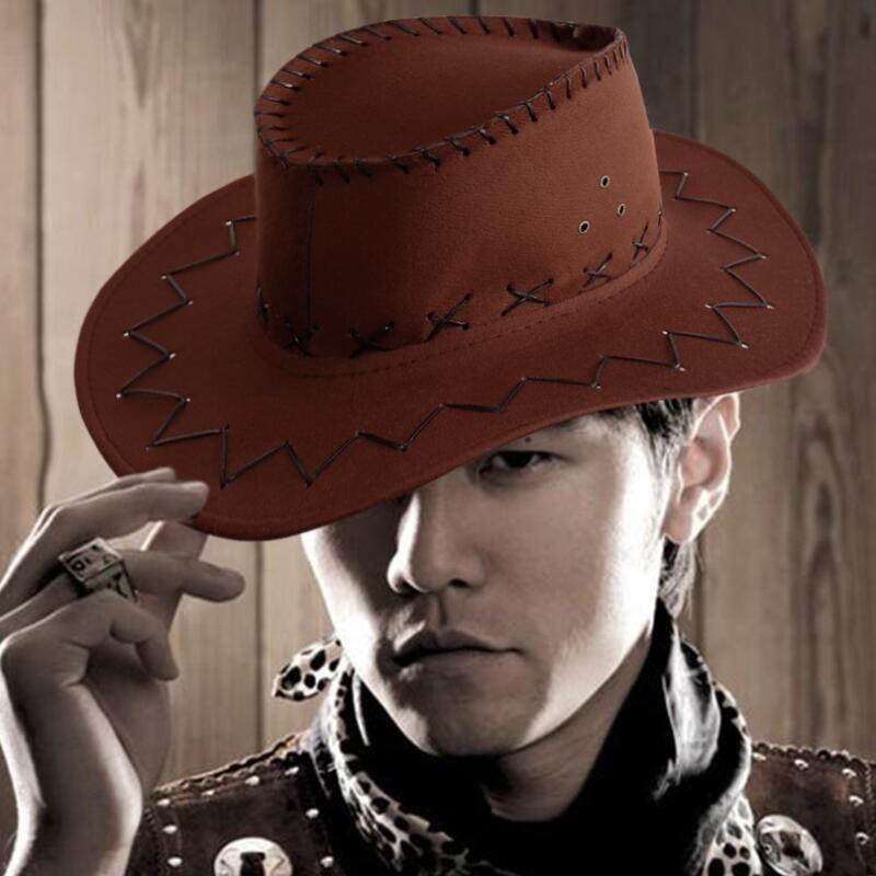 Men Women Artificial Leather Cowboy Hat Western Cap Wide Brim Sunhat Summer