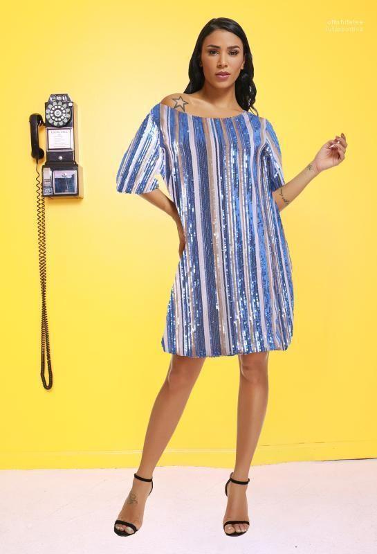 Designer Midi Femme Vêtements Fashion Party Style décontracté Vêtements Femmes été Paillettes rayé Robes ras du cou à manches courtes