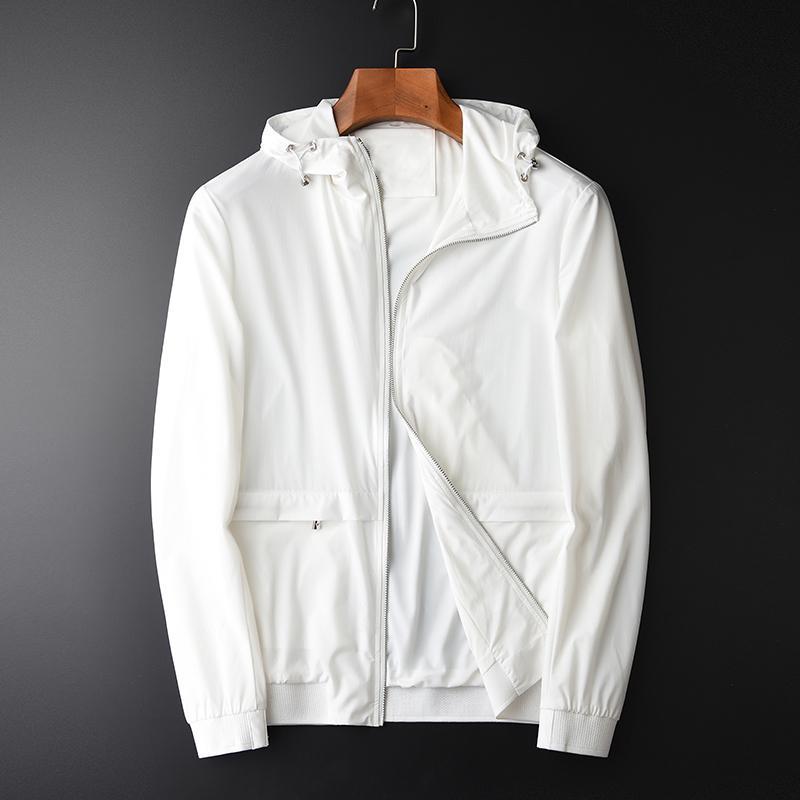 İlkbahar Ve Sonbahar Yeni Beyaz Kapşonlu Yükseklik Kalite Casual Erkek Moda İnce Nefes Ceket Coat Plus Size 4XL