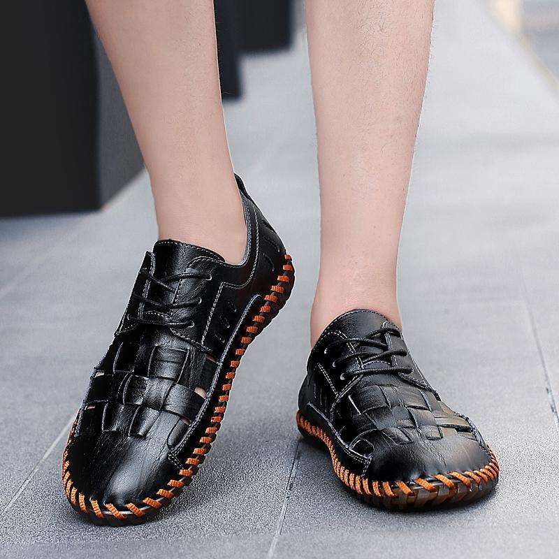 2020 Мужчины Повседневная пляжная обувь Летние сандалии мягкой подошвой Мода мужчин из натуральной кожи Тапочки Мужские Шлепанцы MX200617