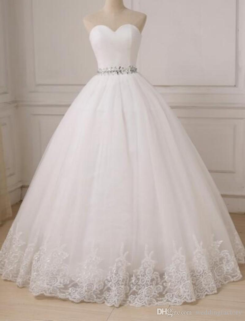 Simple Princess Ball Gown Wedding Dresses Sweetheart Sleeveless Ruched Top Crystals Belt Lace Up Corset Back Floor Length Bridal Gowns From Weddingfactory 165 83 Dhgate Com