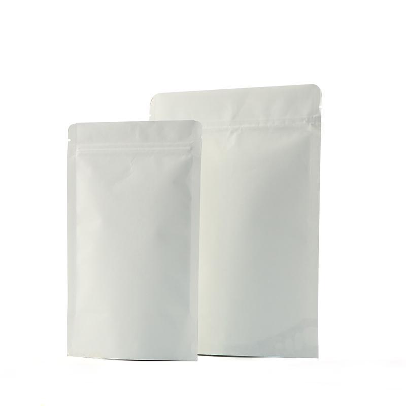 100pcs weißen Stand Beutel mit Kraft Paper Zipverschlusssiegeltasche Tee Kaffeebohne Lebensmittel-Verpackungen Beutel individuelle Druck verfügbar