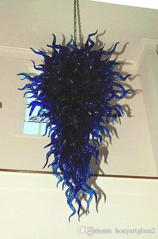 أزرق داكن اليد في مهب زجاج الثريا الإنارات الحديثة ورشيقة كريستال مصباح قلادة لتصميم الصفحة الرئيسية