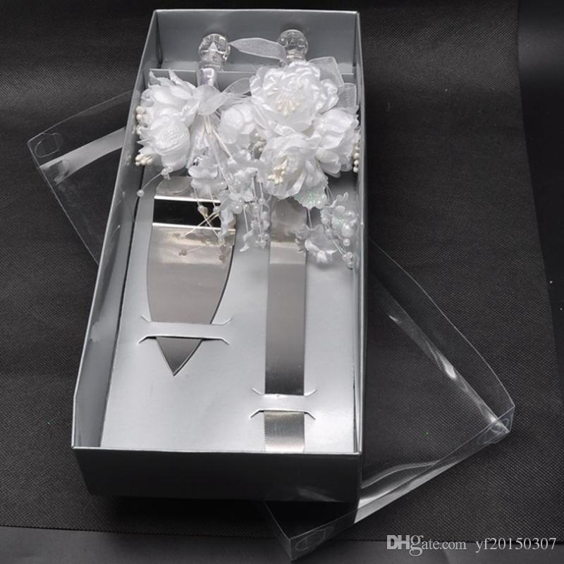 Couteaux Set Couteau De Gâteau Couteaux De Pizza Avec Perle Et Dentelle Dans Des Coffrets Cadeaux Faveurs De Fête De Mariage