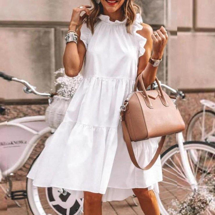 Белый Лепесток рукав женщин платья без рукавов Crew Neck Свободных дам платья лето вскользь Женская Одежда