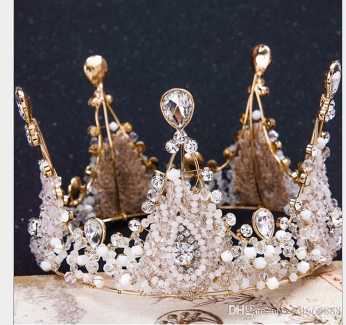 Boda de novia de cristal hecha a mano retro tocado corona corona corona de diamante Princesa
