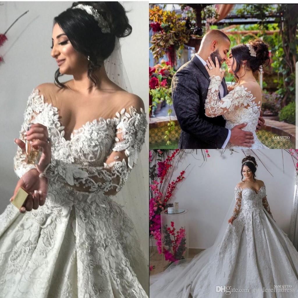 Luxury Ball Gown Wedding Dresses 2020 vestido de noiva long robe de mariage Custom Made Lace Pearls Bridal Gown Long Sleeves
