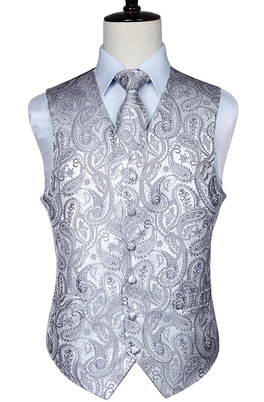 Gilet da uomo classico jacquard paisley gilet fazzoletto da cerimonia nuziale cravatta abito tasca tasca quadrata set SH190822