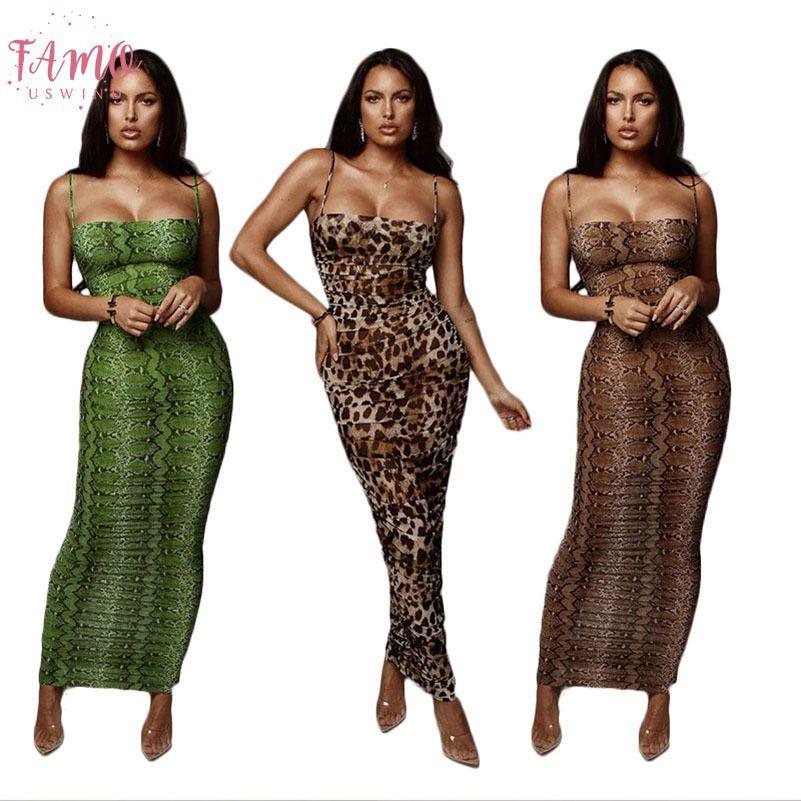 Abiti sexy della stampa del leopardo della pelle di serpente donne del vestito elegante aderente Slim Vestito aderente Plus Size maxi vestito da partito di sera