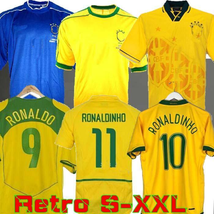 1994 Бразилия Трикотажные Ривалдо 1998 Brasil ретро VINTAGE CLASSIC рубашка Carlos Romario Ronaldo Роналдиньо 2002 футбол Джерси Камиза де Futebol