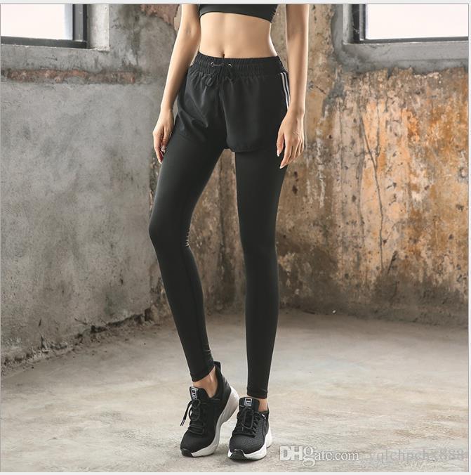 Nouveau genre de faux pantalons de yoga, pantalons de sport élastiques pour femmes, pantalons de fitness