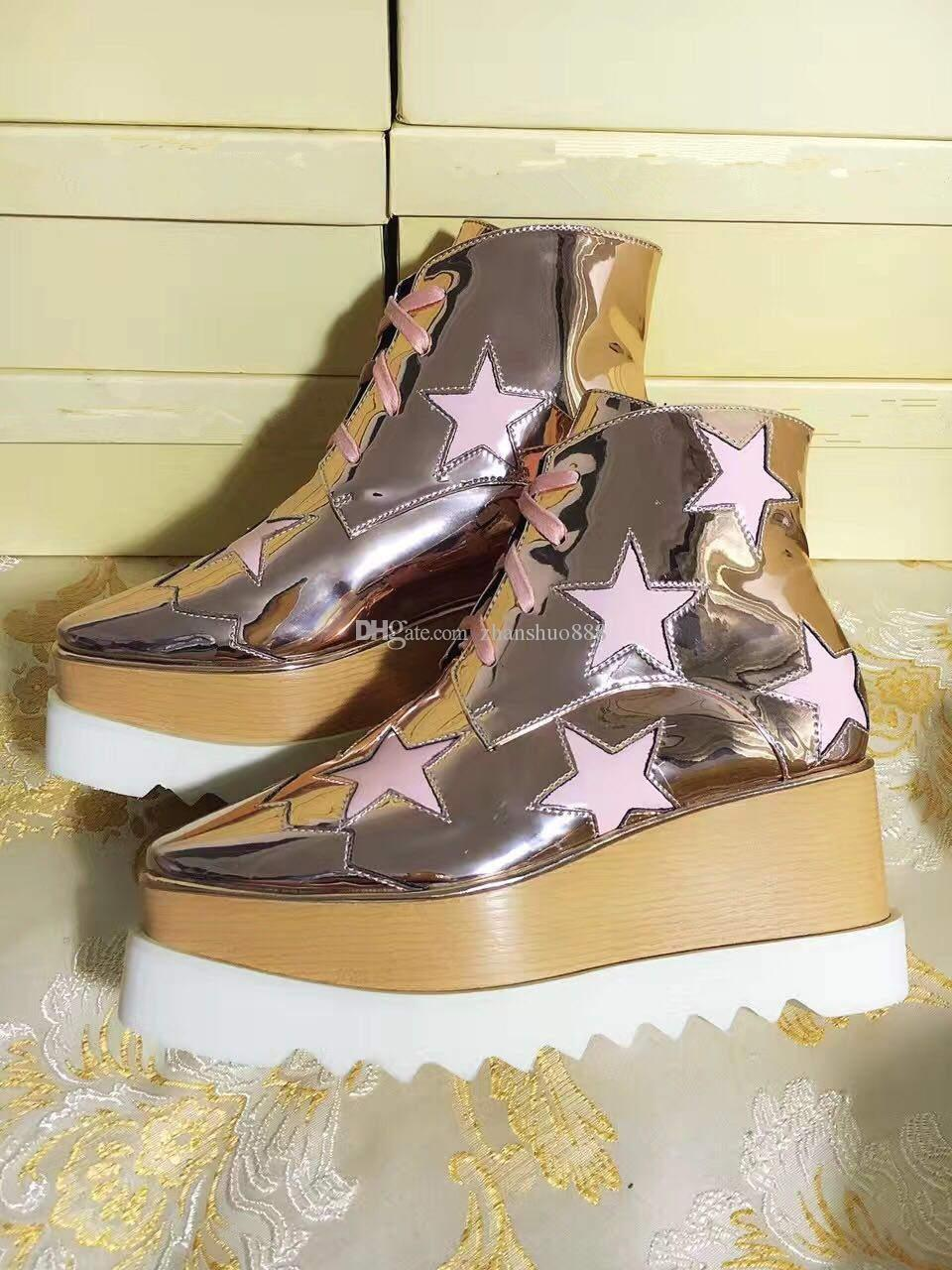 Italian Brand Stella Elyse Women Oxford Shoes McCartney Stars Outsole Platform Sneakers Thick Bottom Flats Leather Wedges Shoes 31 Colors