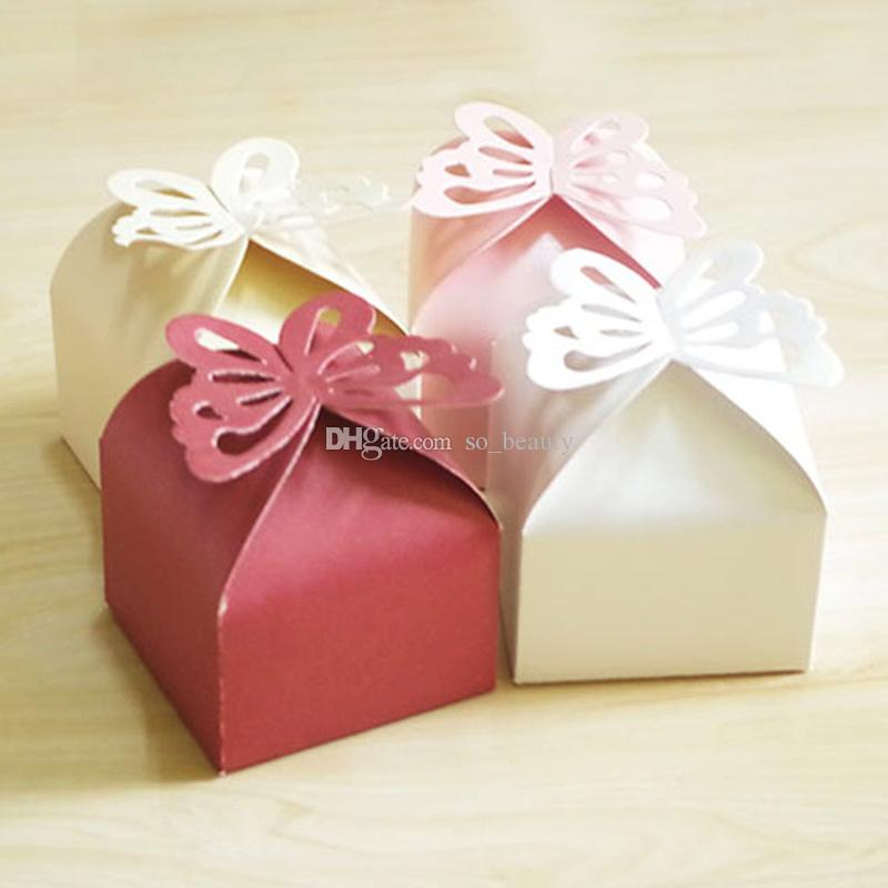 100pcs Butterfly Candy Boxes Wedding Faovrs Christmas Party Gift Box Free Shipping 5 colors for choose