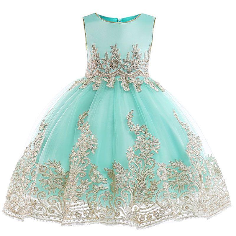 Princesse filles de détail Appliques anniversaire SOIRÉE robe élégante et noble ligne d'or Filles robe de mariée avec Jupettes L9029 T191007