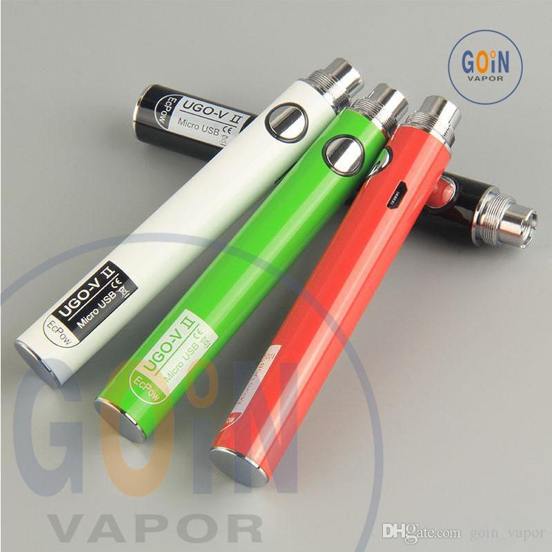 Newest UGO V II 2 650 900mAh Battery 510 Thread Vape Pen Battery EVOD eGo T Micro USB Passthrough Vape batteries & Charger e cigs vaporizers