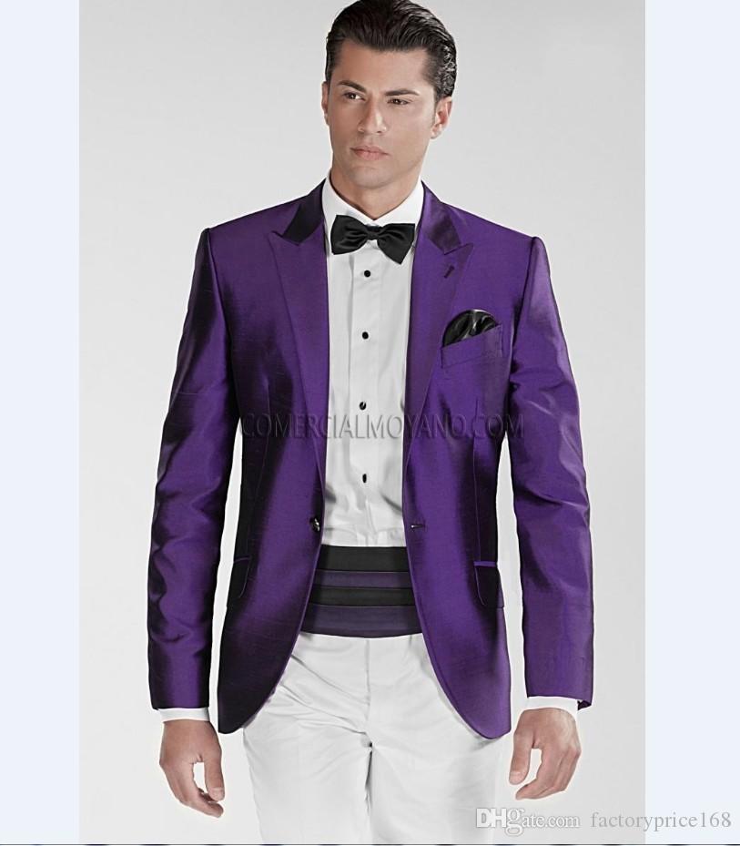 Популярные One Button Groomsmen Пик Отворот Жених Смокинги Groomsmen Лучший мужской костюм Мужские свадебные костюмы Жених (куртка + брюки + галстук) B232