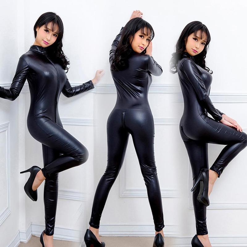 Sexy Mulheres Bodysuits Uniformes De Jogo De Couro De Patente Preto Wet Look Snake Jumpsuit Trajes de Boate de Látex