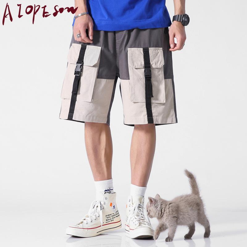 AIOPESON 2020 New Summer Cotton Shorts Men Loose Cotton Multi-pocket Men Shorts Casual Straight Sports Shorts Men Knee Length T200422